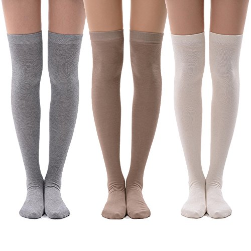 Sexy Knee High Socks, MEIKAN Long Women Casual Socks for Dress, Skirt, Boots, New Year Gifts for Daughter 3 Pairs (Tan,White,Grey)