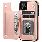 iPhone 11 Wallet Case with Card Holder,OT ONETOP PU Leather Kickstand Card Slots Case,Double Magnetic Clasp and Durable Shockproof Cover for iPhone 11 6.1 Inch(Rose Gold)