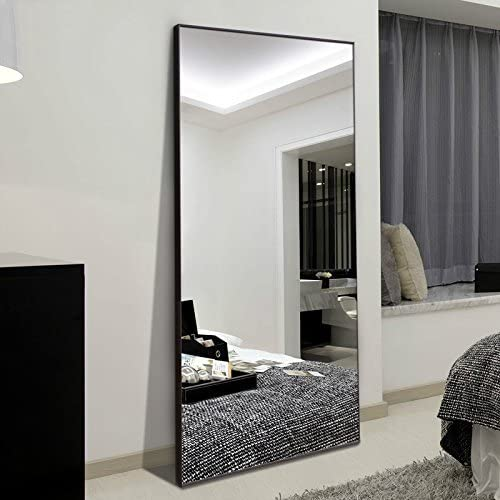 Amazon Com H A 65 X24 Full Length Mirror Bedroom Floor Mirror Standing Or Hanging Black Furniture Decor