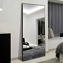"H&A 65""x22"" Full Length Mirror Bedroom Floor Mirror Standing Hanging (Black)"