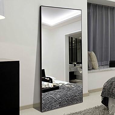 H&A 65 x24  Full Length Mirror Bedroom Floor Mirror Standing or Hanging (Black)