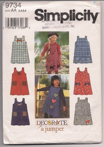 Simplicity Decorate a Jumper 9734 Toddler and Girl's Jumper with Applique Pattern Size AA 3,4,5,6