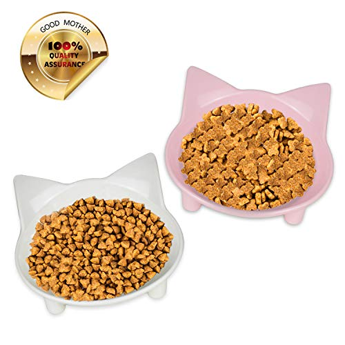 GOOD MOTHER Whisker Fatigue Cat Bowl Anti-Slip Cat Food Bowls Set of 2 Multi-Purpose Cat Dish Pet Feeding Bowl Cat Water…