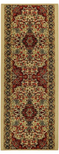 Custom Size Runner Beige Medallion Persian Traditional Non-Slip (Non-Skid) Rubber Back Stair Hallway Rug by Feet 22 Inch Wide Select Your Length by Maxy Home
