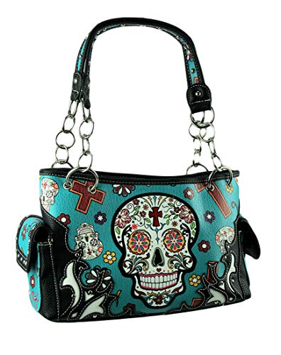Handbag with Day Carry Pocket Purse Blue Sugar The Skull of Concealed Dead nFgSCxAwx