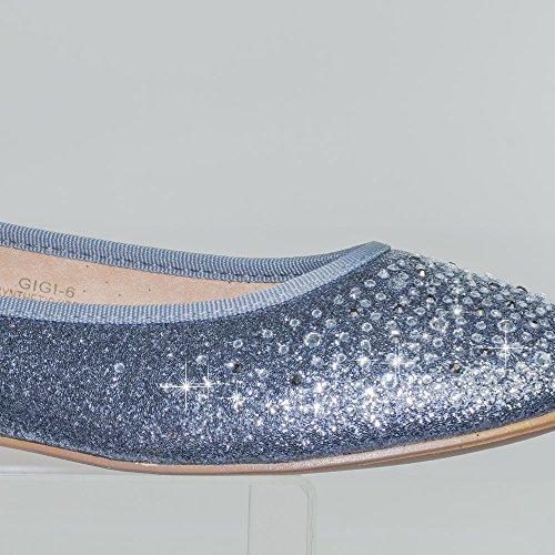 Womens Ronde Teen Ballet Flats Met Iriserende Strass Studs Op Glitter Vamp Blossom Tinnen