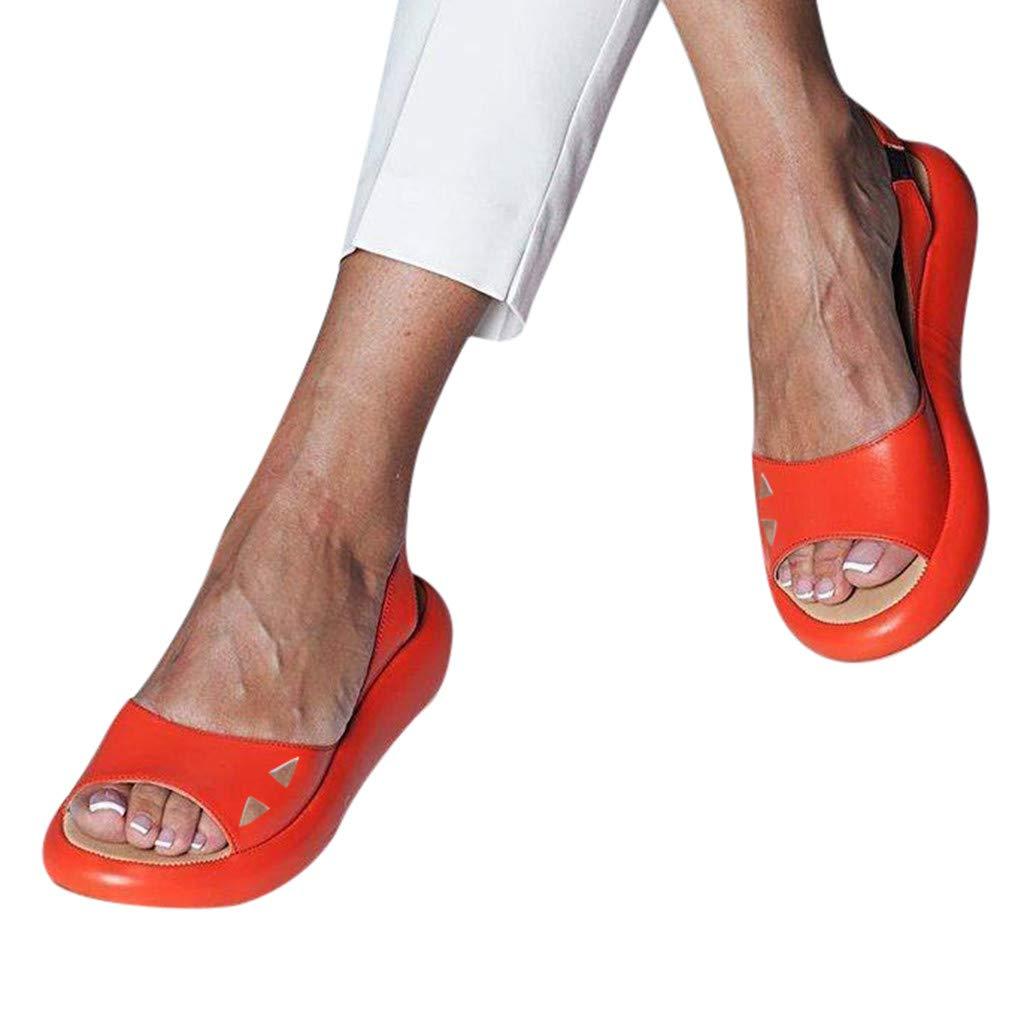 Cenglings Women's Casual Peep Toe Flats Shoes Slip On Shallow Shoes Slingback Platform Sandals Flatform Party Dress Sandals Orange by Cenglings