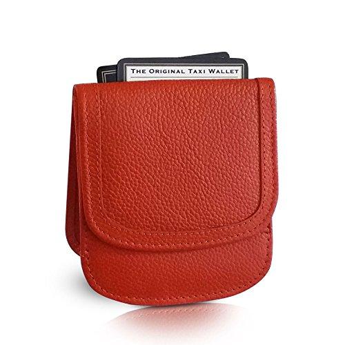 Taxi Wallet Pumpkin Small Folding Leather Minimalist Card Coin Front Pocket Wallet for Men & Women Orange