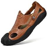 CEKU Men's Closed Toe Outdoor Leather Walking Athletics Slippers Waterproof Casual Fisherman Sandals Shoes Brown 46