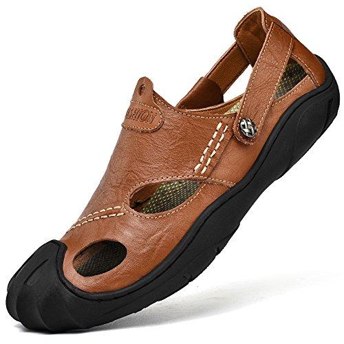 CEKU Men's Closed Toe Outdoor Leather Walking Athletics Slippers Waterproof Casual Fisherman Sandals Shoes Brown 46 by CEKU