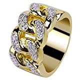 JINAO 18K Gold Plated ICED Out CZ Cuban Link Band Mens Bling Rhodium Ring Hip Hop