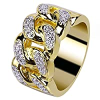 JINAO 18K Gold Plated ICED Out CZ Cuban Link Band Mens Bling Rhodium Ring Hip Hop¡­