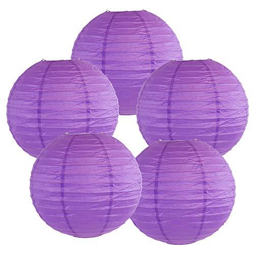 Just Artifacts 8-Inch Royal Purple Chinese Japanese Paper Lanterns (Set of 5, Royal Purple)]()