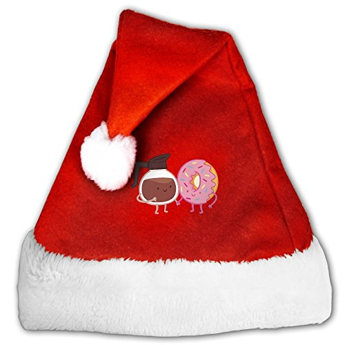 Gask-L Coffee And Donuts Hand In Hand Plush Christmas Hat Santa Hats Costume For Christmas Party (Forrest Gump Family Costume)
