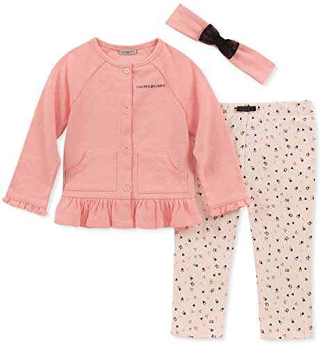 Calvin Klein Baby Girls 2 Pieces Cardigan Pant Set with Headband, Pink, 6-9 Months (Piece 2 Headband)