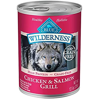 Blue Buffalo Wilderness High Protein Grain Free, Natural Adult Wet Dog Food, Salmon & Chicken Grill 12.5-oz can (pack of 12)