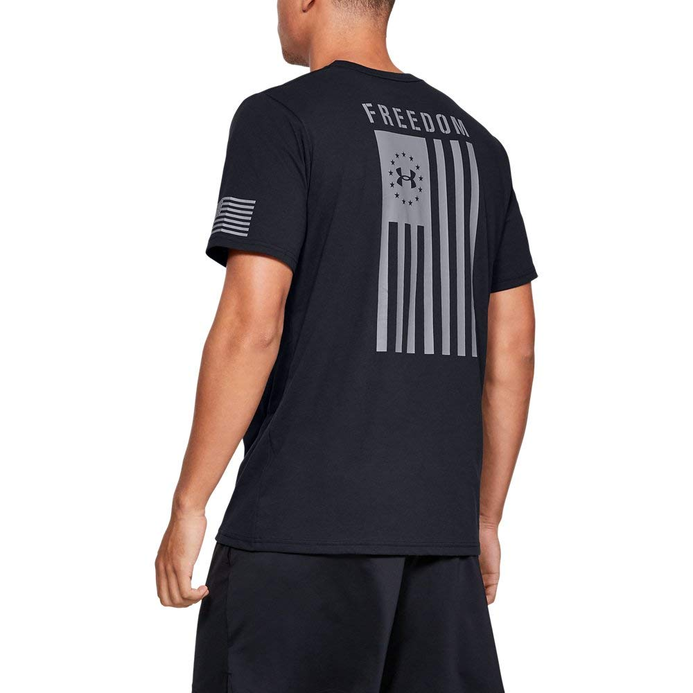 Under Armour Freedom Flag T-Shirt, Black//Steel, X-Large by Under Armour