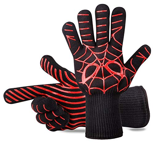 Panshi BBQ Gloves,932°F Heat & Cut Resistant Oven Mitts & Potholders, Non Slip Grilling Gloves with Spider Man Pattern