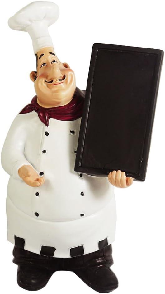 KiaoTime 98915HB Italian Chef Figurines Kitchen Decor with Chef Chalkboard  Counter Top Chef Figurine Collectible Kitchen Chef Decor Statue