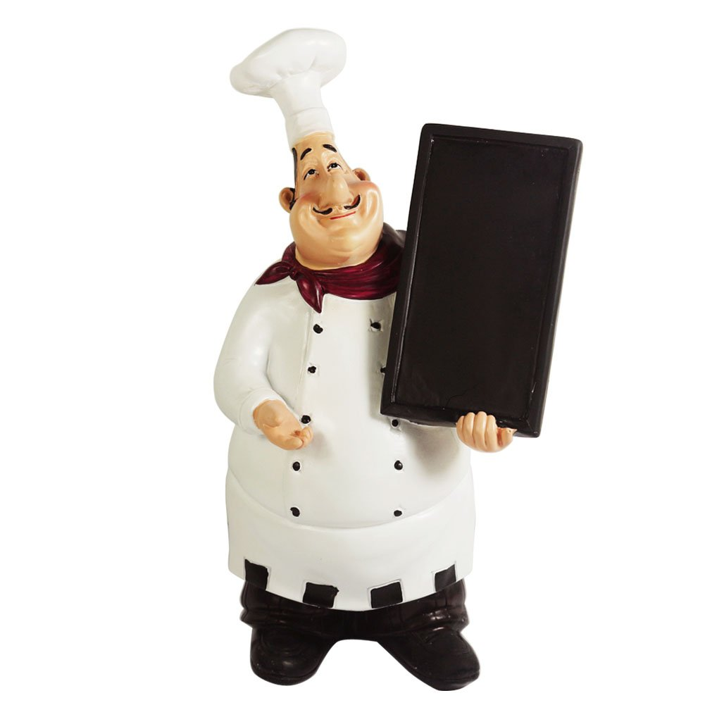 KiaoTime 98915HB Italian Chef Figurines Kitchen Decor with Chef Chalkboard Counter Top Chef Figurine Collectible Kitchen Chef Decor Statue