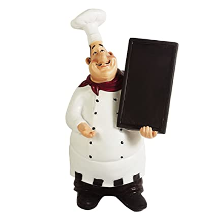 KiaoTime 98915HB Italian Chef Figurines Kitchen Decor With Chef Chalkboard  Counter Top Chef Figurine Collectible Kitchen