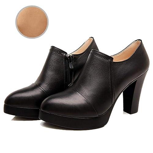 Las Mujeres Plataforma Gruesa Zapatos Botines de Cuero Genuino Tacones Altos Bloque Cremallera Zapatos Classic Bombas: Amazon.es: Zapatos y complementos
