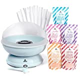 Carnus Cotton Candy 5 Flavor Family Package with Cotton Candy Maker | Ft. Blue Raspberry, Pink Vanilla, Grape, Orange, Cherry Floss Sugar Pouches and 50 Paper Cones. | Home-Use Cotton Candy Machine