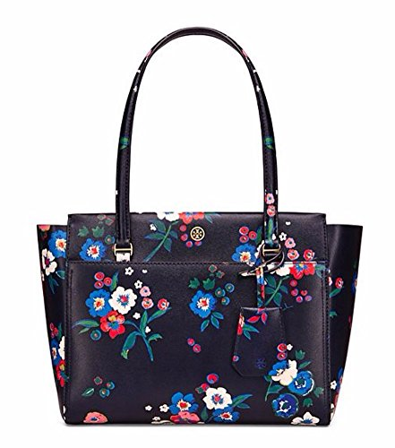 Tory Burch Parker Floral Small Leather Tote, Pansy - Store Tory