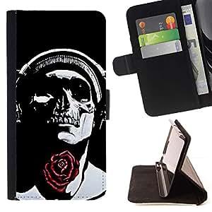 Momo Phone Case / Flip Funda de Cuero Case Cover - Rose Auriculares Negro del cráneo de la música - Sony Xperia Style T3