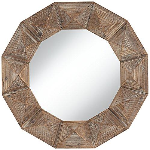 Park Round Mirror (Dyan Geometric Cut Distressed Wood 31 1/2