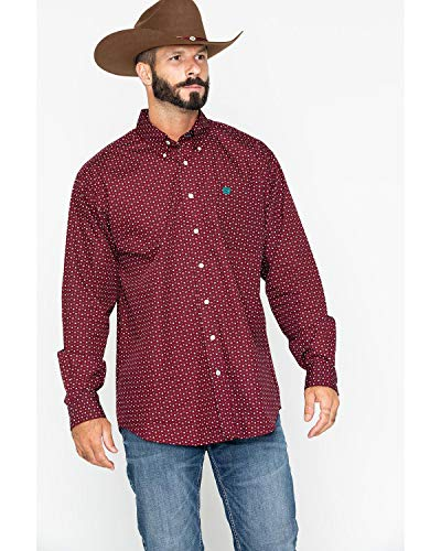 Cinch Men's Burgundy Geo Print Long Sleeve Western Shirt Burgundy Large - Mens Print Western Shirt