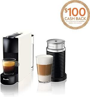 Breville Nespresso Essenza Mini Bundle Coffee Machine, Pure White, BEC250WHT