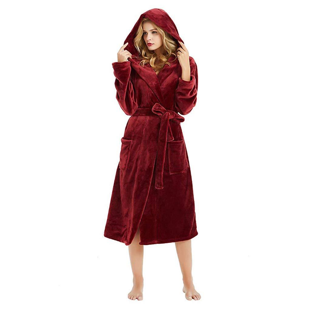 ❤️ Womens Long Sleeve HoodedLengthened Coat Fleece Robes, Soft Warm Plush Bathrobe Robe for Spa Shower (S, Wine)