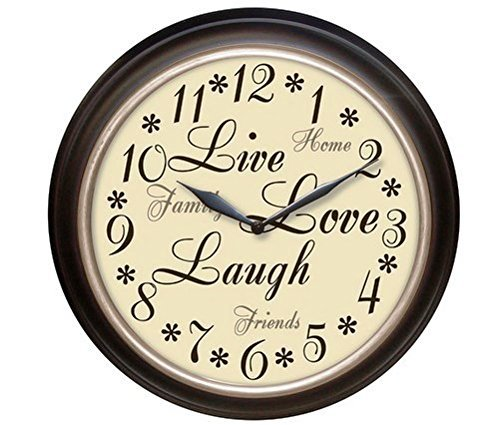 Westclox 32032 Round Live Love Laugh Message Clock, 12-Inch, EA, Brown