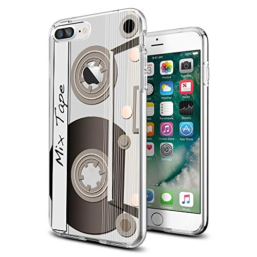 Case Cassette Cover - Retro Tape Clear iPhone case for iPhone 8 Plus Protective for Girls Men Women Cover Shockproof Bumper Anti-Drop TPU Frame for 5.5