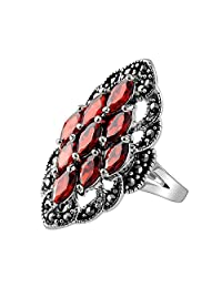 Vintage Ruby Ring Zircon Solid MetJakt 925 Sterling Silver Lace Beautiful Ring Women Party Wedding Thai Silver Jewelry
