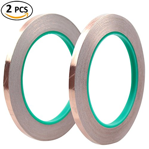 DYWISHKEY 1/4' X 21.8 yds (6mm x 20m) Copper Foil Tape with Dual Conductive Adhesive for EMI Shielding, Slug Repellent, Crafts, Electrical Repairs (2 Pcs)