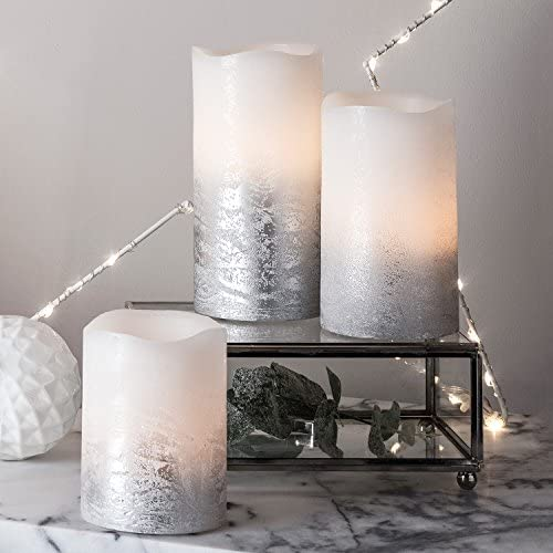 Lights4fun, Inc. Set of 3 Silver Real Wax Battery Operated Flameless LED Pillar Candles