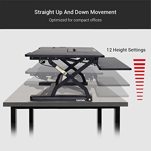 Loctek - Height Adjustable Standing Desk 36'' Wide Platform, Removable Keyboard Tray with Power Strip Holder & USB Port (PL36B) by Loctek (Image #5)