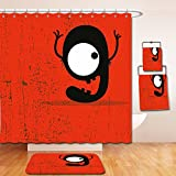 Nalahome Bath Suit: Showercurtain Bathrug Bathtowel Handtowel Red Decor Cartoon Style Illustration of Letter G Monster on Grunge Background Red Black and White