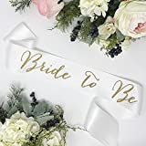 Bachelorette Sash - White Satin - Gold ''Bride To Be''