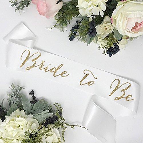 Bachelorette Sash - White Satin - Gold ''Bride To Be'' by Lauren Lash Designs