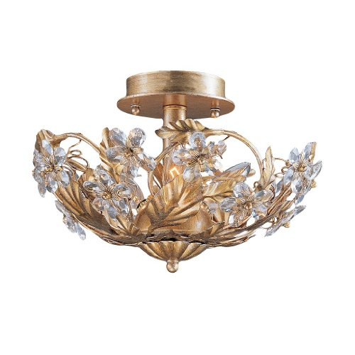 Price comparison product image 5316-GL Abbie 6LT Semi-Flush, Gold Leaf Finish with Clear Hand Cut Crystal Accents