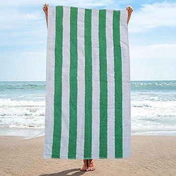 Linen Galaxy Toalla de playa resistente al cloro, 70 x 150 cm, diseño de rayas, color verde y blanco, Pack de 2: Amazon.es: Hogar