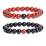 iSTONE Distance Bracelets Black Agate & Red Agate Energy Healing Stone Beads Bracelet Set Couple Jewelry