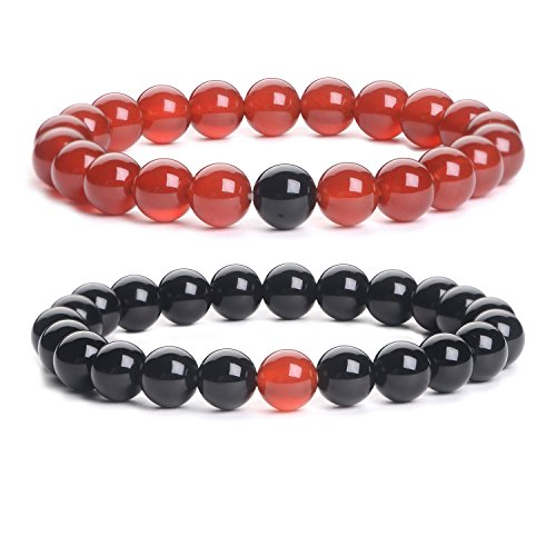 iSTONE Distance Bracelets Black Agate & Red Agate Energy Healing Stone Beads Bracelet Set Couple Jewelry by iSTONE