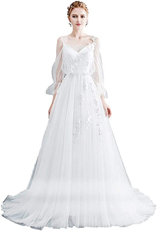 Vestido de una línea de Encaje Vestido de Boda de Playa 2019 V ...