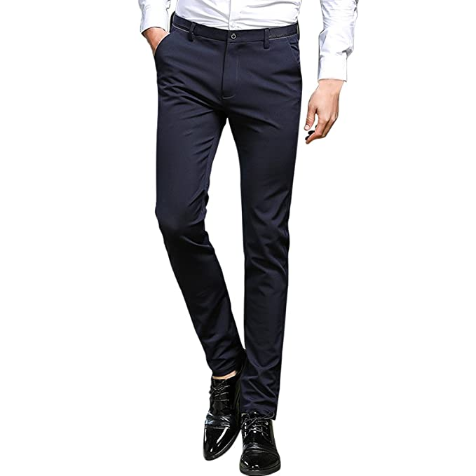 Zhhlaixing Pantalones Slim Pantalones de Traje para Hombre Negros Slim fit  Negocio Fiesta Ceremonia Work Office Dress Pants  Amazon.es  Ropa y  accesorios 39a90a4c819