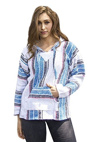 Mexican Baja Hoodie Pullover Sweater Unisex (Thick Blue, Black, White Stripes) (Small)- Buy Online in India at desertcart.in. ProductId : 29488121.