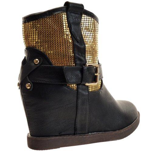 Kickly - Chaussure Mode Bottine Compensée western cheville femmes Métallique Talon compensé 9 CM - Intérieur fourrée - Noir/Or